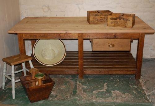 Antique Industrial Pine Kitchen Island Work Mill Table 159611 Sellinganti