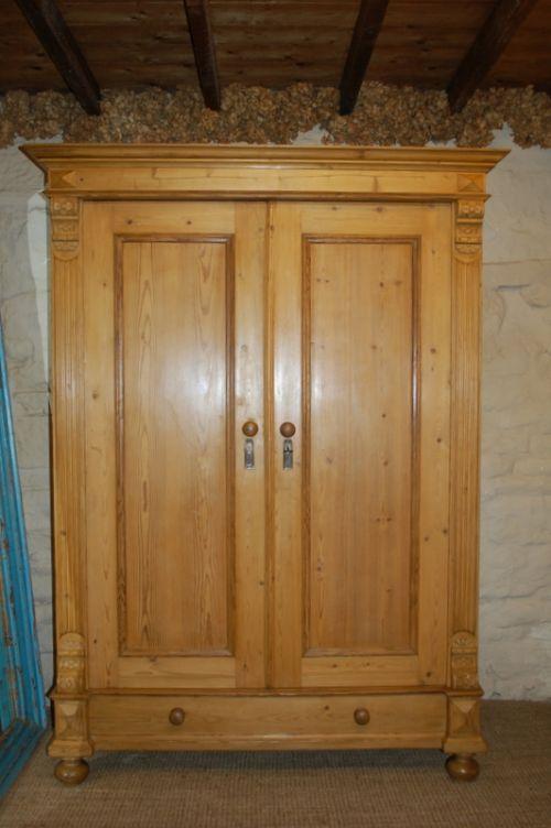antique pine double wardrobe armoire 210435. Black Bedroom Furniture Sets. Home Design Ideas