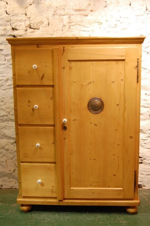 antique continental pine storage cupboard with drawers - Antique Continental Pine Storage Cupboard With Drawers 56541 Www