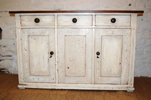 antique pine dresser base kitchen cupboard sideboard in original paint
