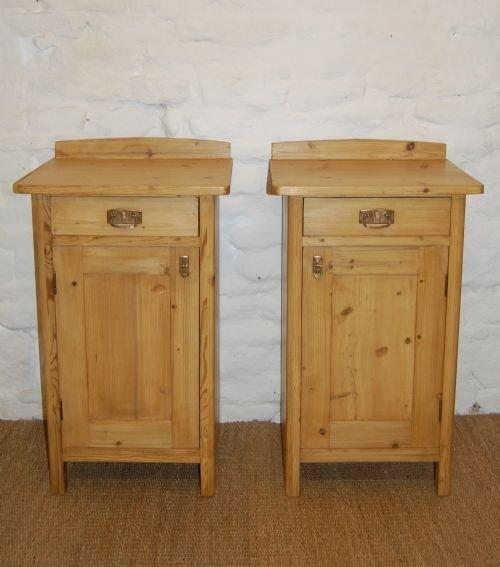 antique pair of pine bedside cabinets - Antique Pair Of Pine Bedside Cabinets 69575 Www.cottage-antiques.com
