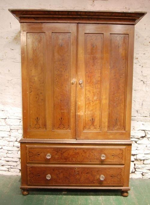 antique victorian pine linen press wardrobe in original paint