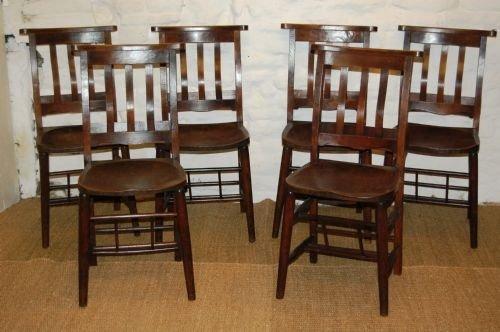 set of six edwardian elm chapel chairs