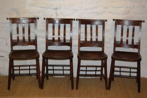 set of four edwardian elm chapel chairs