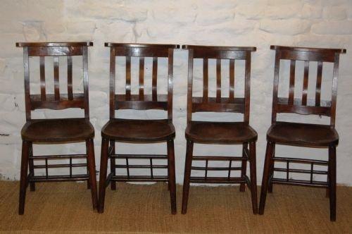 set of four edwardian elm chapel chairs