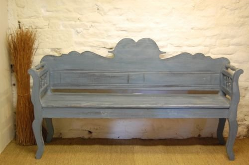 antique hungarian painted country settle bench