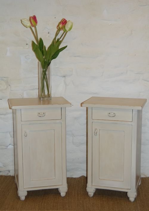 antique pair of painted pine bedside cabinets