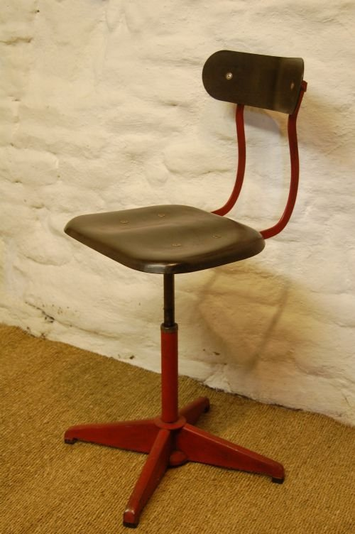 antique industrial mill workers swivel chair