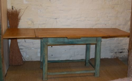 antique pine extending country table in original paint