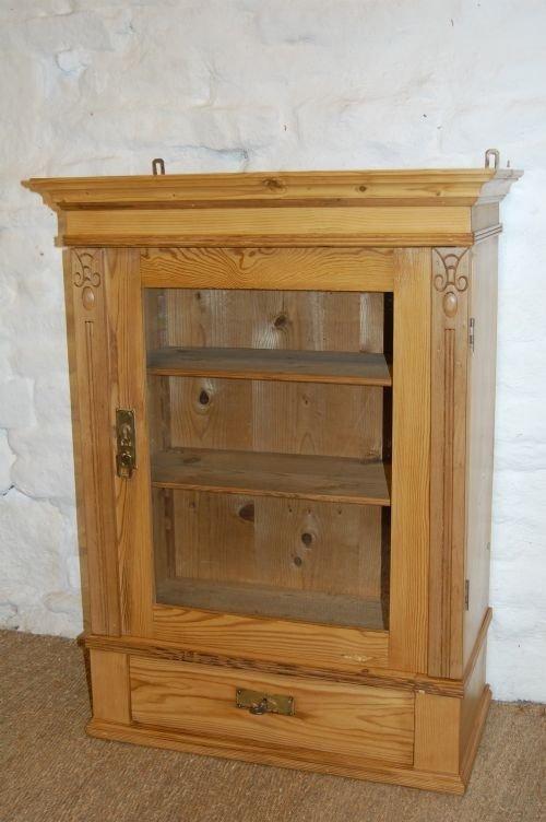 art nouveau pine wall cabinet