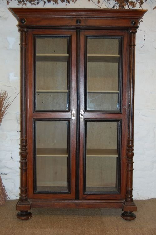 antique pine glazed bookcase in original paint