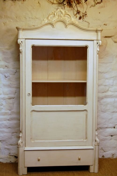 antique french louis philippe glazed bookcase display cabinet