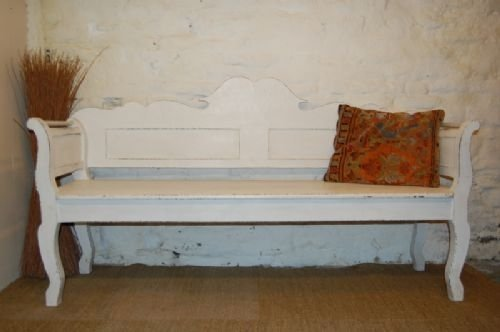 antique hungarian country pine settle bench