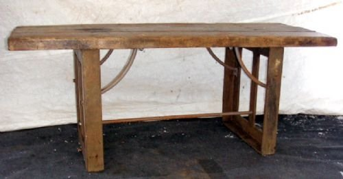 antique industrial cast iron and pine table