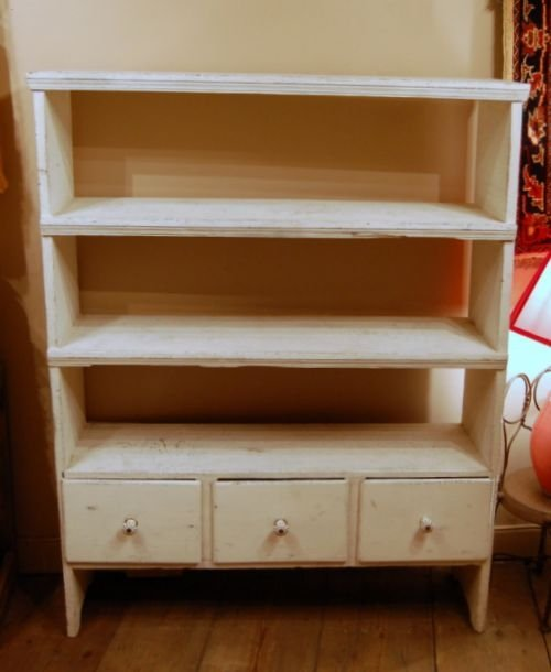 antique pine book shelf with three drawers