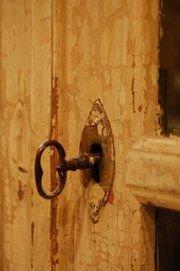 distressed door and key