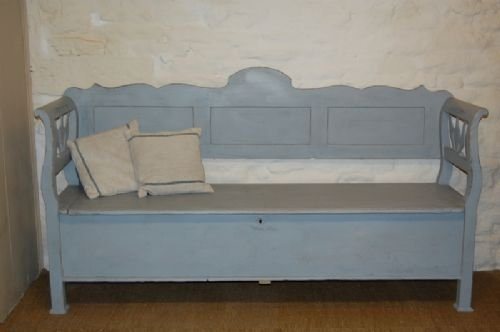 Antique Hungarian Country Box Settle Bench 125510
