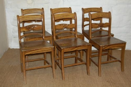 antique set of 6 swedish country pine chairs - Antique Set Of 6 Swedish Country Pine Chairs 125525