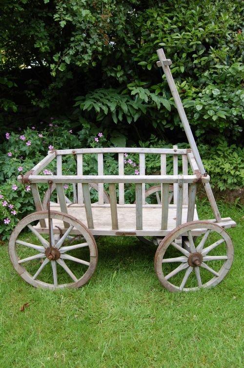 antique wooden dog cart