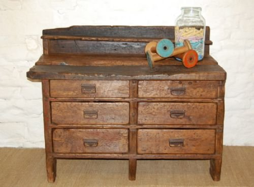 antique pine bank of drawers work bench