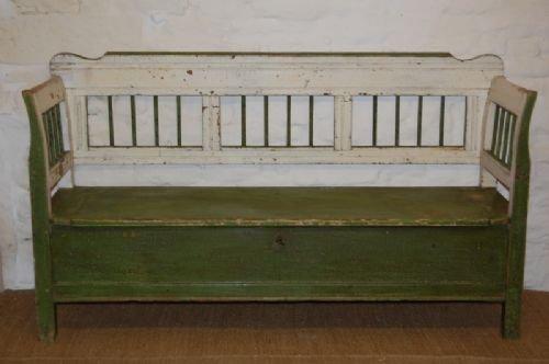 antique pine box settle bench