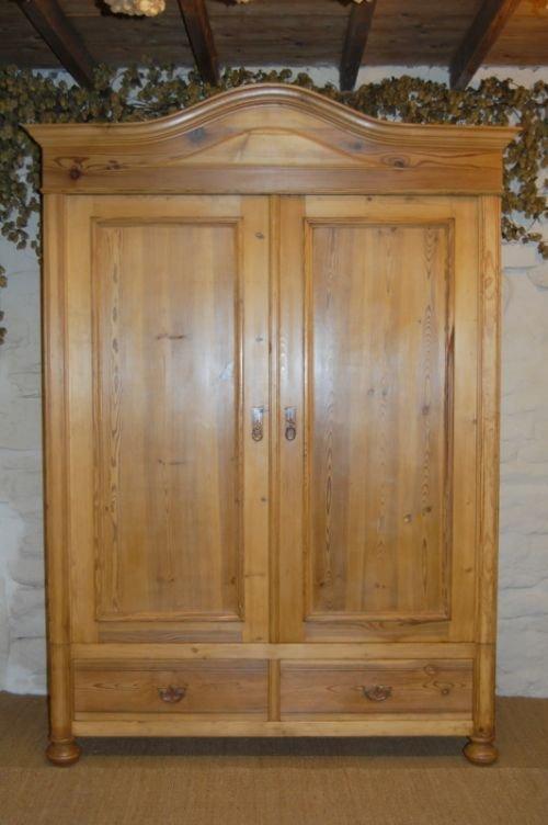 antique pine double wardrobe armoire 144013. Black Bedroom Furniture Sets. Home Design Ideas