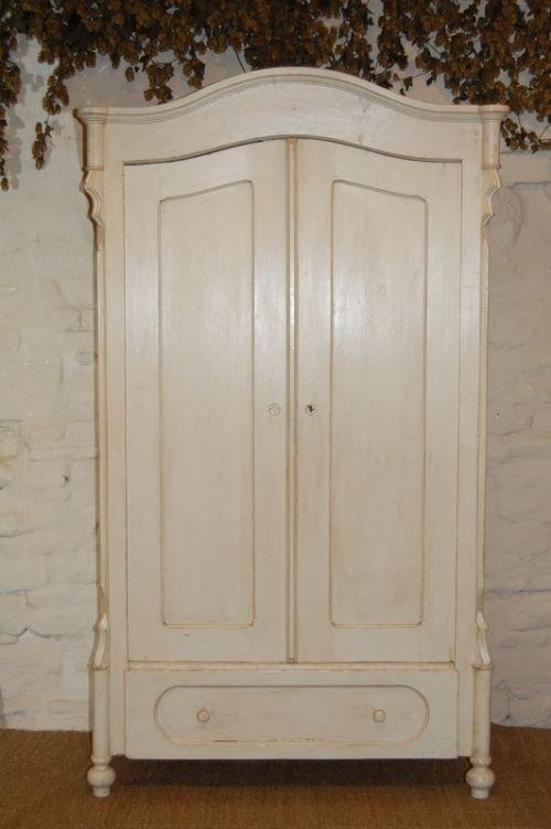 Antique Louis Philippe Pine Wardrobe Storage Cupboard