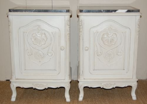 antique pair of french bedside cabinets