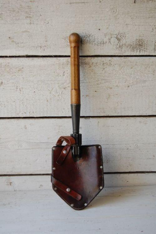vintage swiss army folding spade