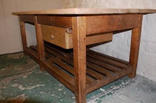 Antique Industrial Pine Kitchen / Island /work / Mill Table | 159611 |  Www.cottage Antiques.com