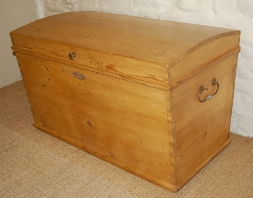 antique pine dome top bedding box trunk chest
