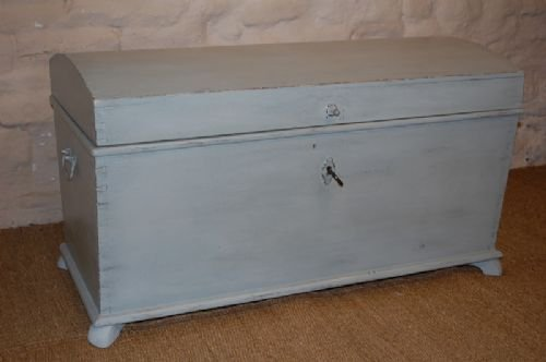 antique swedish pine dome top box trunk chest