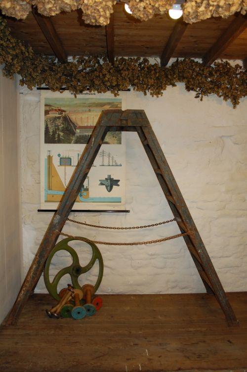 antique vintage metal trestle ladder