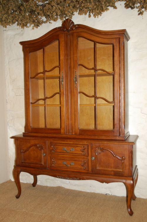 vintage french provincial oak display cabinet bookcasedresser