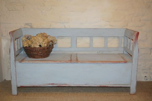 antique pine country box settle bench with storage