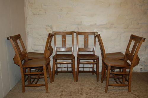 edwardian elm chapel chairs set of six