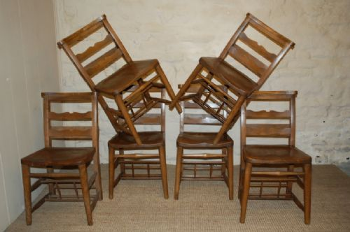 victorian elm chapel chairs set of six