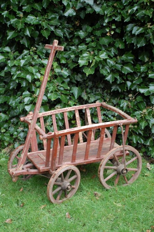 antique wooden dog cart