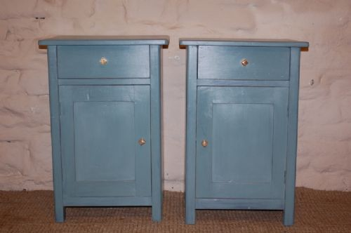 Antique Pair Of Pine Bedside Cabinets Pot Cupboards