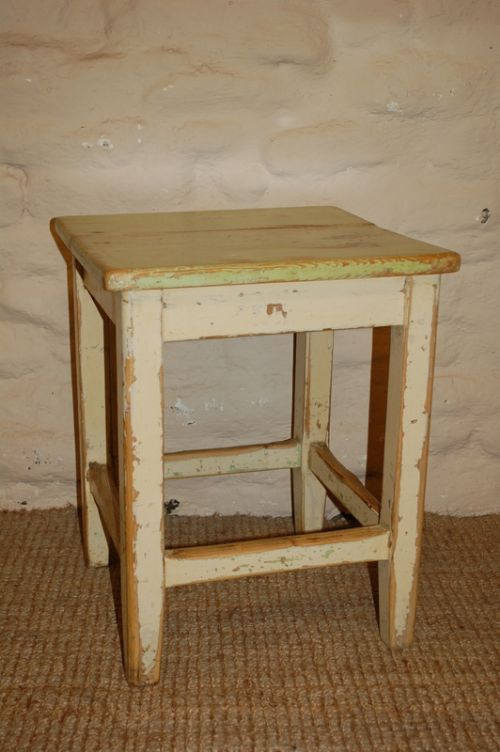 Antique Rustic Pine Stool Lamp Table Side Table