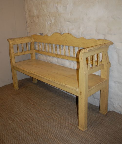 antique pine country settle bench