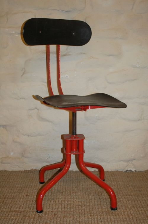 antique industrial machinist chair