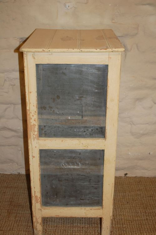 Antique Pine And Mesh Food Safe Storage Cupboard