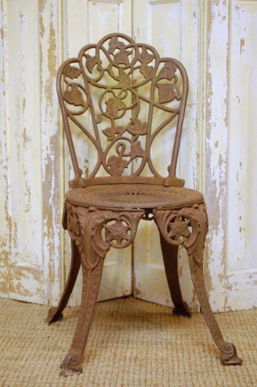 antique cast iron decorative garden chair seat