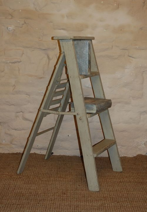 antique painted pine library ladders