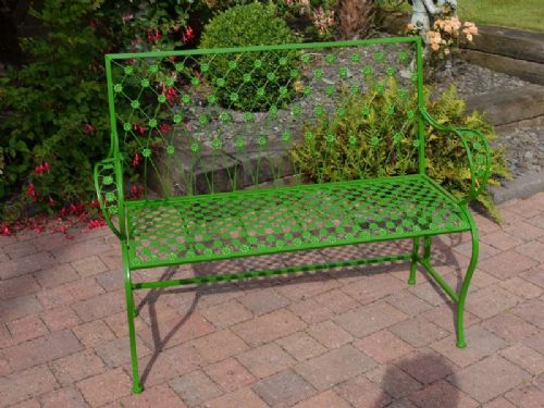 iron garden bench flower design in green other colours available