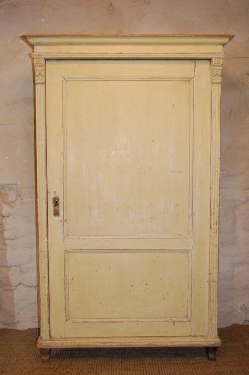 antique rustic pine cupboard in original paint