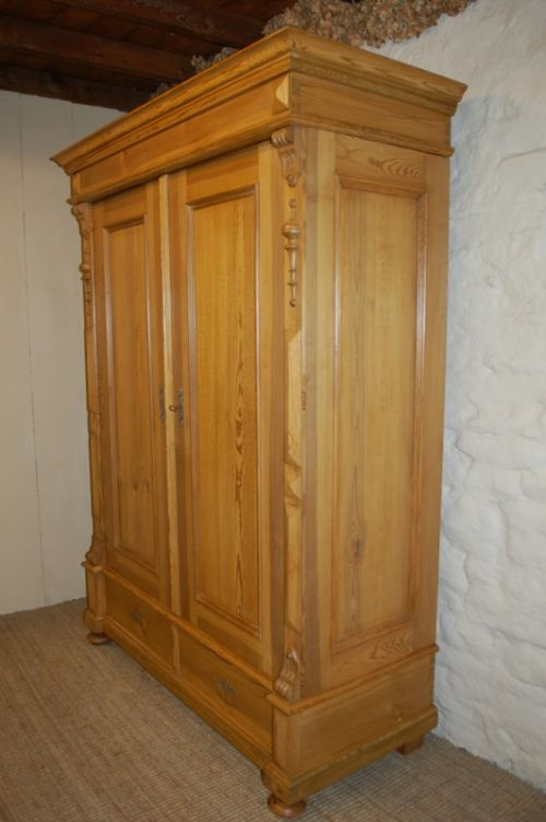 antique pine double wardrobe armoire 1850