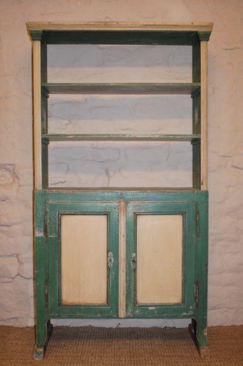 antique rustic pine dresser shelf unit