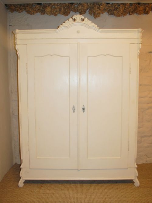 antique french pine double wardrobe painted armoire